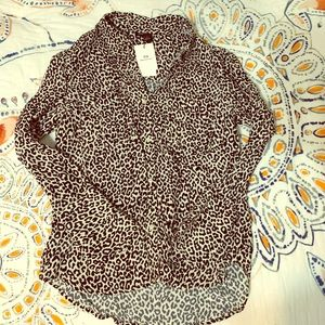 Something Navy leopard blouse